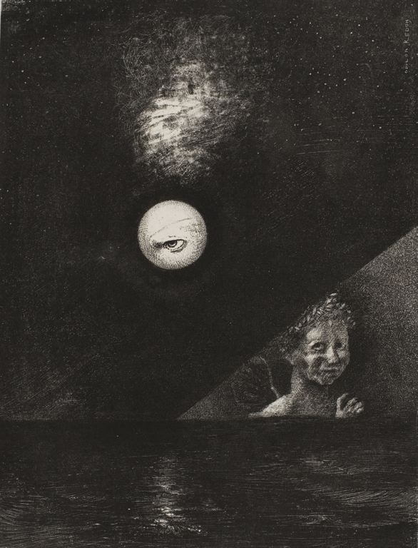 Odilon Redon French, 1840-1916 On the Horizon the Angel of Certitude, and in the Somber Heaven a Questioning Eye, plate four from To Edgar Poe, 1882