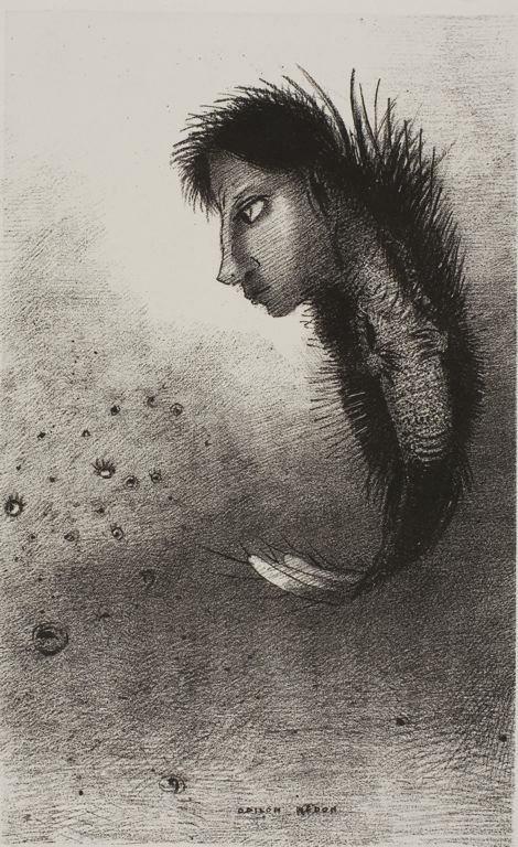 Odilon Redon French, 1840-1916 Then There Appears a Singular Being, Having the Head of a Man On the Body of a Fish, plate 5 of 10, 1888