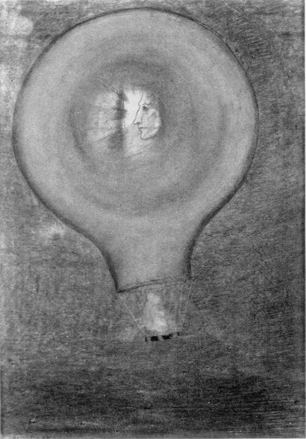 Odilon Redon . Ballon (une petite tête au centre) .1833